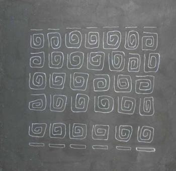 Foule 3 - 2004 - graffito su intonaco su cellotex cm 50x50