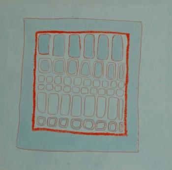 Foule 2 - 2004 - acrilico e vinilica su cellotex - cm 50x50