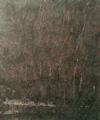 Primordial - 2017 - cera su carta su cellotex - cm 59,5x50
