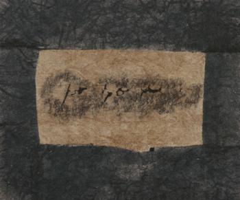Pre-historic 5 - 2017 - frottage su carta su cellotex - cm 40x47