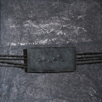 Weaving • monotipo e frottage su carta su mdf - 40x40 cm - 2018