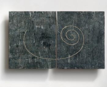 IL FILO - cera carta e filo su cellotex - cm 60x50 (x2) - 2017-2019