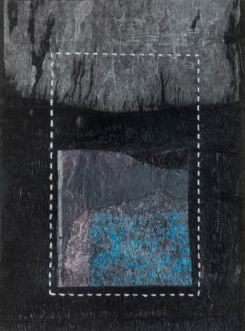 RITAGLIARE LUNGO LA LINEA TRATTEGGIATA 1 - filo di cotone su carta intelata - cm 26x35 - 2021