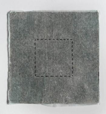 RITAGLIARE LUNGO LA LINEA TRATTEGGIATA 10 - filo di cotone su carta intelata - cm 13x16 - 2021