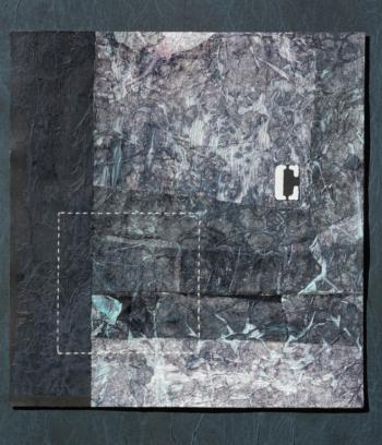 RITAGLIARE LUNGO LA LINEA TRATTEGGIATA 17 - filo di cotone su carta intelata - cm 30x32 - 2021