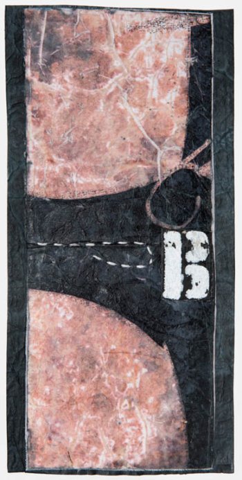 RITAGLIARE LUNGO LA LINEA TRATTEGGIATA 2 - filo di cotone su carta intelata - cm 10x20,5 - 2021