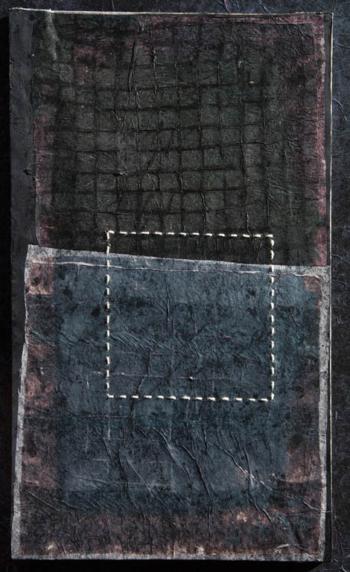 RITAGLIARE LUNGO LA LINEA TRATTEGGIATA 3 - filo di cotone su carta intelata - cm 23,5x40 - 2021
