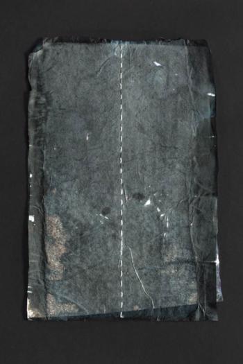 RITAGLIARE LUNGO LA LINEA TRATTEGGIATA 5 - filo di cotone su carta intelata - cm 14,5x21,5 - 2021