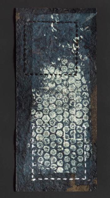 RITAGLIARE LUNGO LA LINEA TRATTEGGIATA 7 - filo di cotone su carta intelata - cm 12,5x25,5 - 2021