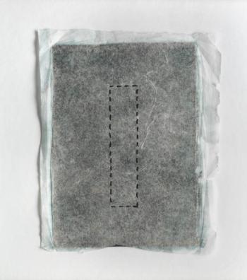 RITAGLIARE LUNGO LA LINEA TRATTEGGIATA 9 - filo di cotone su carta intelata - cm 13x15 - 2021